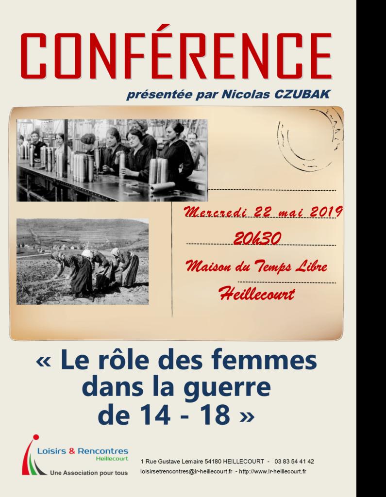 CONFERENCE «Le rôle des femmes dans la guerre 14-18» mercredi 22 mai 2019 20h30